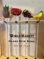 World Market Glass Stir Rods Swizzle Sticks Set of 4 Fruit Design ~ NEW IN BOX