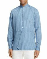 Eidos By Isaia Mens Kurta Button-down Stripe Shirt Large Blue  - Made In Italy