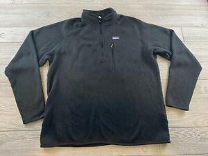 Vintage PATAGONIA  Fleece Size XL Mens Pullover Better Sweater Black 1/4 zip