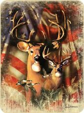 79x96 Queen Patriotic Deer Buck US Flag Scene Mink Fleece Blanket Super Plush