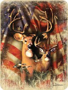 79x96 Queen Patriotic Deer Buck US Flag Scene Mink Fleece Blanket Super Plush