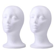 Foraineam 2 Pack Female Styrofoam Mannequin Head Cosmetics Model Head Wig Displa