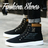 Fashion Mens Oxfords Casual High Top Shoes Leather Shoes Lace up Canvas Sneakers