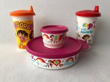 Tupperware Dora Bowl Snack Cup Tumblers with Sippy Lids