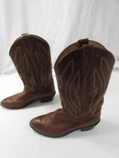 Vtg Justin USA Made Brown Leather Cowboy Boots Sz 10 EE Wide Western