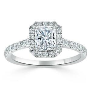 3 CT Emerald Shape Moissanite Diamond Halo Engagement Ring 14k Solid Rose Gold