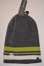 New Igloos Gray Green White Stripe Reversible Beanie Hat Boy's (8-14) One Size