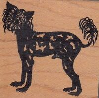 """chinese cr dog rubber stamp ranch Wood Mounted Rubber Stamp 2 x 2"""" free shipping"""