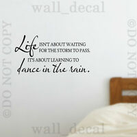 Life Isnt About Waiting Wall Decal Sticker Quote Lettering Dance In The Rain