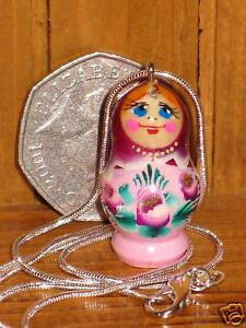 Pendant Russian Doll Necklace hand painted PINK PURPLE Girl GIFT Matryoshka