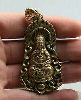 64MM Collection Chinese Bronze Buddhism Guanyin Kwan-yin Amulet Pendant Statue