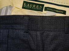 RALPH LAUREN mens 35 x 32 wool & cashmere pleat cuff pants gray blue check EUC