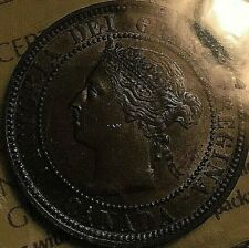 1884 CANADA LARGE 1 CENT COIN - Obverse #2 Lustrous Brown ICCS Certified MS-62