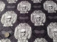 Michael Miller Crânes Gothique Halloween Chauve-souris Coton quilting tissu FQ 50cmx 54cm