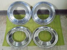 "RARE 1951 Ford Accessory Trim Beauty Rings 15"" Set 4 Wheel Hubcap Surround 51"