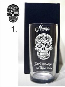 PERSONALISED  ENGRAVED SUGAR SKULL BIRTHDAY/ ANY OCCASION HI BALL GLASS GIFT