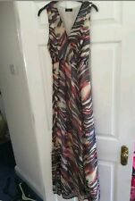 maxi multi coloured abstract  maxi dress 8 with ties at the back