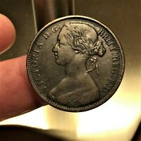 1863 Great Britain Penny Coin KM# 749.2