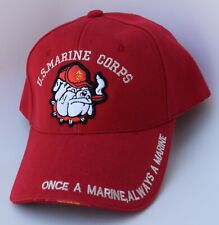 US MARINE CORPS Devil Dog Baseball Cap Hat One Size Strapback Structured Red