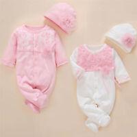 1 set Newborn baby girls twins clothes princess bodysuit cotton jumpers+ hat