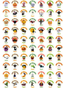 140 Personalised Halloween Stickers Labels Sweet Cone Spooky Trick or Treat