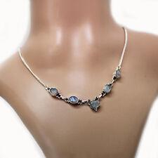 Mondstein Halskette Silber 925 Collier 40cm Kette 5 Cutstone Edelsteine