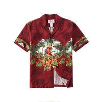 Made in Hawaii Men Aloha Shirt Luau Cruise Party Hula Girl Beach Palms in Red