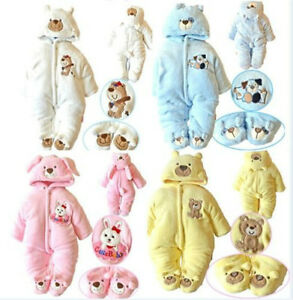 NEW Newborn Baby Warm Clothes Cartoon Romper Winter Outwear Sets Outfits