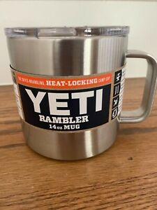 New YETI Rambler Stainless Steel 14 oz Hot or Cold Mug with Lid - Silver