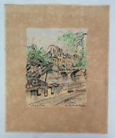 Vintage 1950s Original Watercolour Painting Le Quai de Conti Paris Artist France