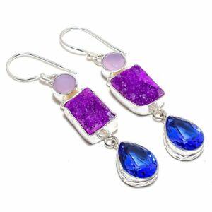 "Purple Quartz Druzy, Blue Sapphire Silver Fashion Jewelry Earring 2.5"" SE9928"