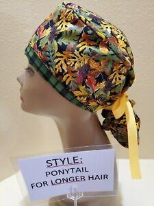 Fall Leaves Galore Women's Ponytail Surgical Scrub Hat/Cap Handmade