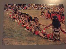 Traditional Maori Canoe Poi Action Song New Zealand Postcard Vintage