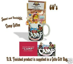 Camp Coffee Mug with a Teatime Selection of 1960's Retro Sweets