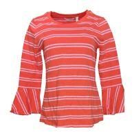 Isaac Mizrahi Live! Women's Top Sz S Scoop Neck w/ Bell Sleeves Red A301942
