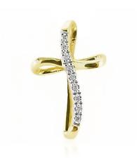 Oro & Diamante Cruz 10k Oro Blanco Amarillo Colgante Cruz Diamante .05ct 2.2cm