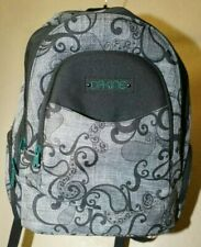 Dakine gray black design print back pack green accents good condition