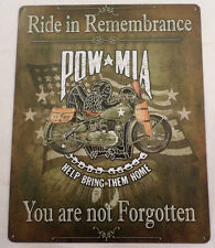 Ride In Rememberance Pow Mia You Are Not Forgotten Bar Man Cave Metal Tin Sign