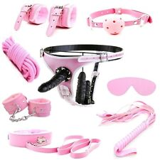 KIT SET 8 pz + imbragatura harness con triplo dildo strap-on rosa