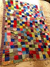 New listing Authentic Vintage 1960s Handmade Baby Crib Patchwork Quilt *Nice & Thick *Lap