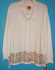 RUBY RD Holiday Rose 2017 Soft Gold Studded Long Sleeve White Cowl Neck SIZE 1X