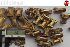 M2.5 x 6mm (L)  3.5mm (OD) Metric Threaded Brass Knurl Round Insert Nuts