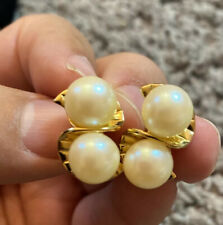 Vintage Gold Tone Faux Pearl Swirl Givenchy Clip Earring