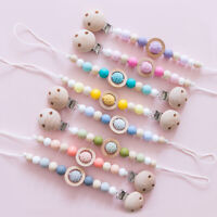 Baby Dummy Pacifier Clip Food Grade Silicone Beads Teething Chewy Soother Chain