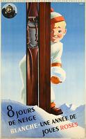 Affiche Originale - Roland Hugon - 8 Jours de Neige - Ski - Montagne - 1938