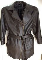 Wilsons Leather Jacket Large Belted Hipster Zip Out Thinsulate Lining Brown