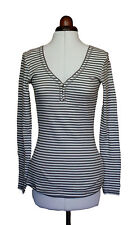White Stuff long sleeved cotton grey/white striped top size10 ''Spring'' Second