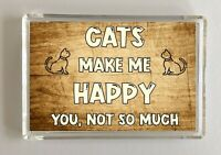 Cat Gift - Novelty Fridge Magnet - Makes Me Happy - Ideal Present Birthday Xmas