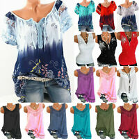 Summer Women Floral Loose Casual T-Shirt Boho Vest Tank Top Blouse Tee Plus Size