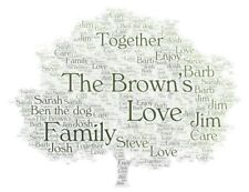 Personalised OUR FAMILY TREE Word Art Print Gift, Home Gift Mother's Day
